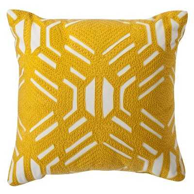 Room Essentials® Patterned Decorative Pillow - Yellow- 16.000L x 16.000W- Polyester fill insert - Target