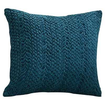 "Stoney Littleton Textured Triangles Cotton Throw Pillow- Teal Green - 18"" sq- Polyester fill insert - AllModern"