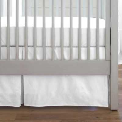 "Solid White Crib Skirt Box Pleat-14""L - babybedding.com"