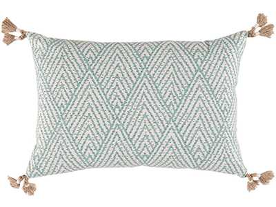 "Tahitian Stitch Horizon Lumbar Pillow - 19"" L X 13"" H - Feather/Down Insert - Domino"