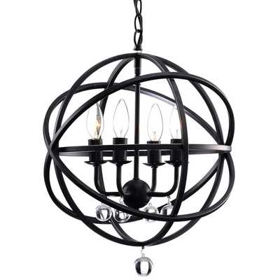Benita Antique Black Metal Sphere 4-light Crystal Chandelier - Overstock