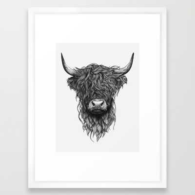 """Highland Cattle -20"""" X 26""""-Framed-White - Society6"""