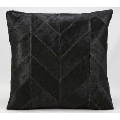 Heritage Leather Throw Pillow - Black - 20x20, Polyester/Polyfill insert - Wayfair