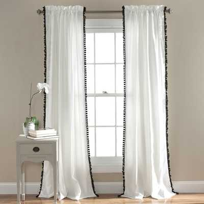 Lush Decor Pom Pom 84-inch Curtain Panel - Black - Overstock