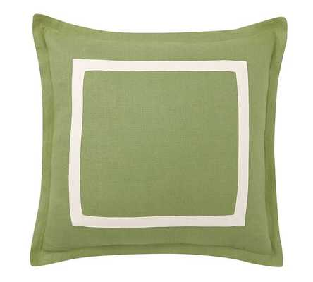 "Textured Linen Frame Pillow Cover - Clover Green/Ivory - 20"" square. - Insert Sold Separately - Pottery Barn"
