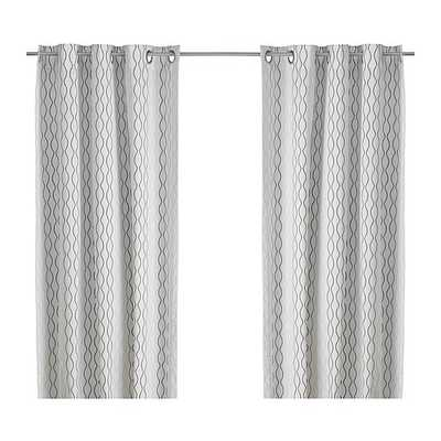 HENNY RAND Curtains, 1 pair, white, brown, gray - Ikea
