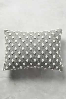 "Woolen Pom Pillow - Grey - 14"" x 20"" - Polyfill insert - Anthropologie"