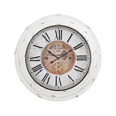 Theodore Wall Clock In Antique White - Rosen Studio