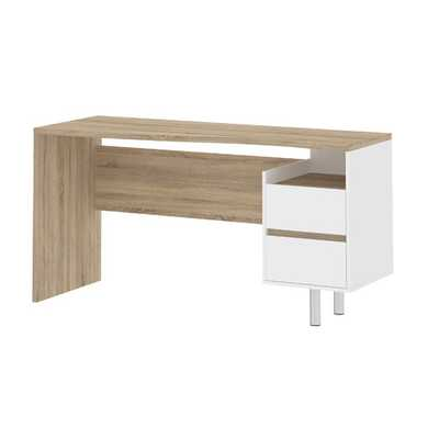 Whitman Plus Contemporary Writing Desk -  Oak / White - AllModern