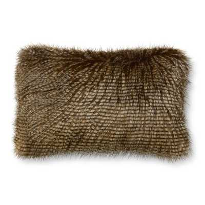 """Faux Fur Pillow Cover, Brown Owl Feather -14"""" x 22"""", Insert not included - Williams Sonoma Home"""