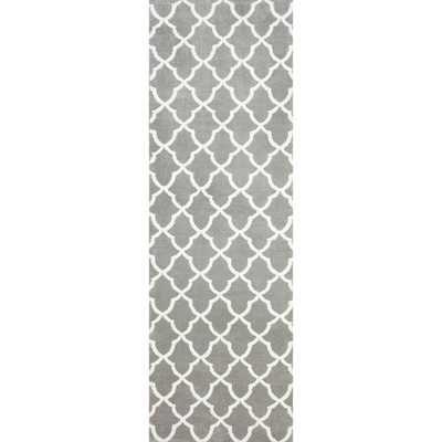NuLOOM Kitchen Microfiber Grey Trellis Runner (2'6 x 8') - Overstock