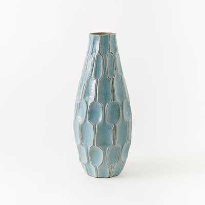 LINEWORK VASE, HONEYCOMB, TALL TEAR DROP, LIGHT BLUE - West Elm