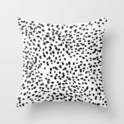 """Nadia - Black and White, Animal Print Indoor Pillow - 20"""" x 20"""" - Down Insert - Society6"""
