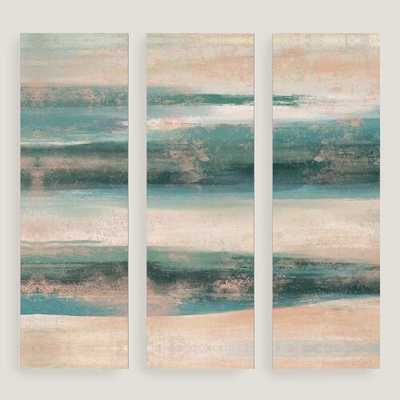 "Blue and White Horizon Wall Art - 16.5""W x 1.25""D x 49.5""H - Framed - World Market/Cost Plus"