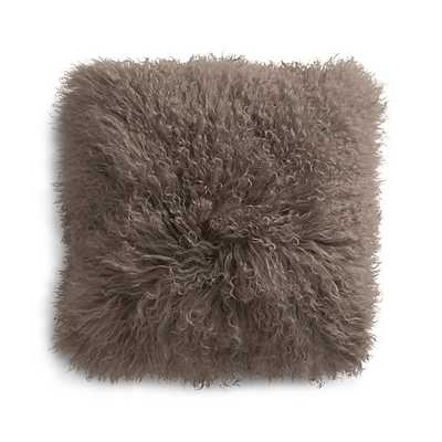 "Pelliccia Mushroom Brown 16"" Mongolian Lamb Fur Pillow with Feather-Down Insert - Crate and Barrel"