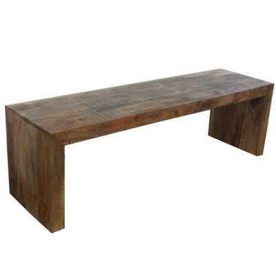 Timbergirl Emmerson Solid Mango Wood Bench (India) - Overstock