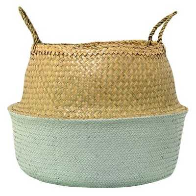 """Seagrass Basket with Handles - Natural/Sky Blue (19"""") - 3R Studios - Target"""