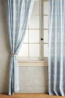 "Paradise Found Feathered Curtain - Blue - 50""W x 108""L - Anthropologie"