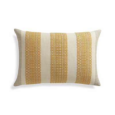 "Bryce 22""x15"" Pillow -Stripes of golden -with Feather-Down Insert. - Crate and Barrel"