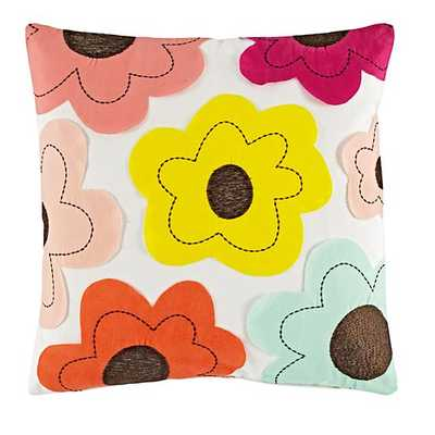 """Flower Field Throw Pillow Set - 16""""Wx16""""H - Insert sold separately - Land of Nod"""