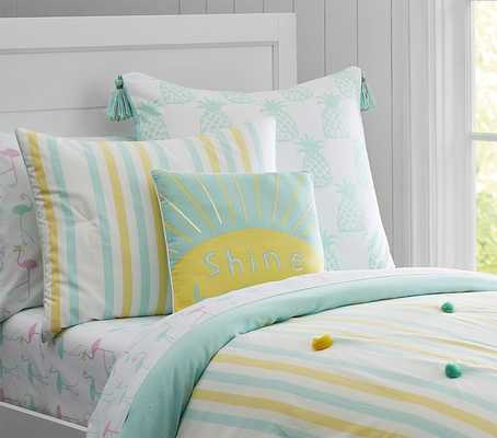 Pom Pom Quilted Bedding - Full/Queen - Yellow - Pottery Barn Kids