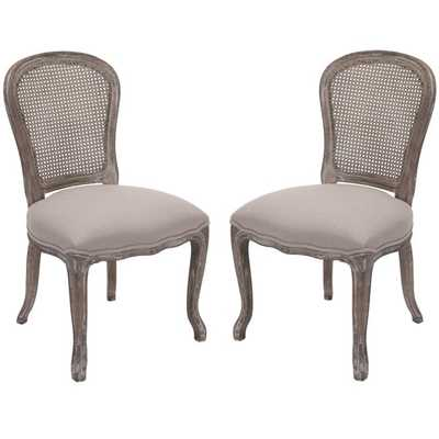 Safavieh Riveria Antiqued Oak Finish Taupe Side Chairs (Set of 2) - Overstock