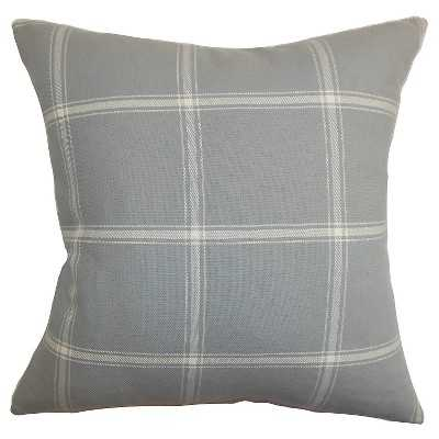 """The Pillow Collection Plaid Decorative Pillow - Smoke - 18"""" x 18"""" - Down Insert - Target"""