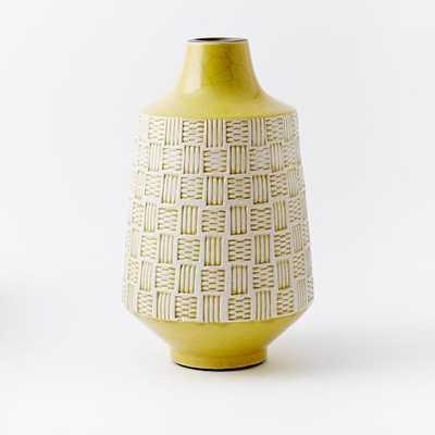 Basketweave Ceramic Large Vase - Horseradish - West Elm