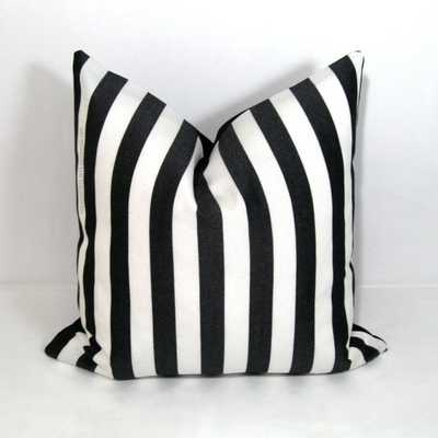 """Black White Striped Pillow Cover - 18"""" x 18"""" - insert sold separately - Etsy"""