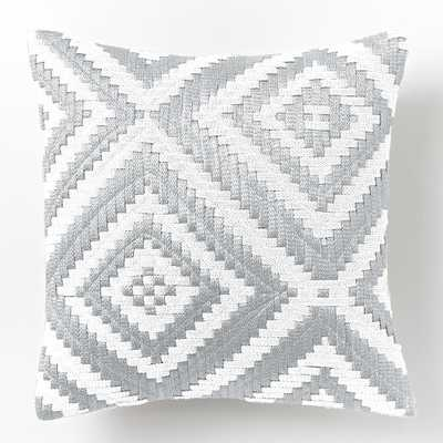 "Metallic Cropped Diamond Pillow Cover - Silver - 16""sq. - Insert sold separately - West Elm"