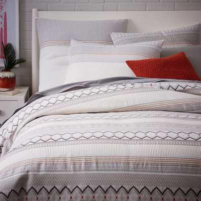 Organic Nordic Stripe Jacquard Duvet Cover- Full/Queen - West Elm