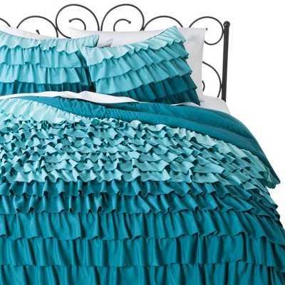 Ruffle Comforter Set - Turquoise - Twin - Target