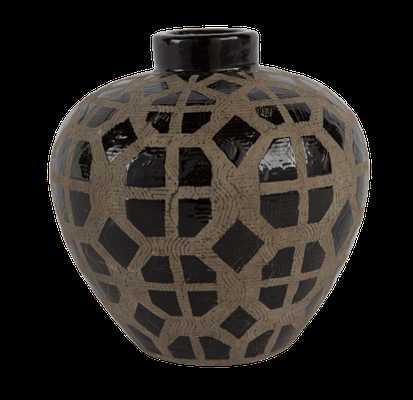 Graphic Ceramic Oval Vase - Large - GoldLeaf Design Group