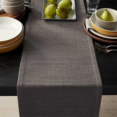 """Grasscloth 90"""" Graphite Grey Table Runner - Crate and Barrel"""