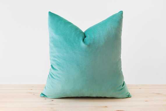 Turquoise Velvet Pillow Cover - Etsy