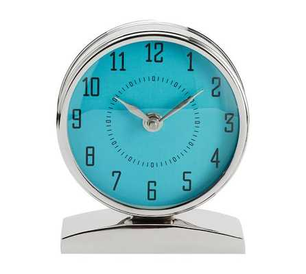 Chrome Clock on Stand - Pottery Barn