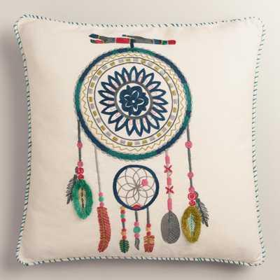 "Dreamcatcher Cotton Throw Pillow - 18"" x 18"" - Polyester filling - World Market/Cost Plus"