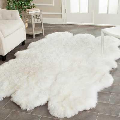 Safavieh Prairie Sheepskin/ Wool White Shag Rug (5' x 8') - Overstock