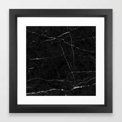 "Black Marble - FRAMED ART PRINT/VECTOR BLACK MINI (12"" X 12"") - Society6"