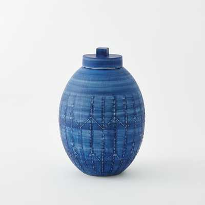 Indigo Ceramic Vase - Round Ginger Jar - West Elm
