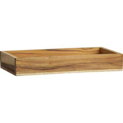Teak rectangular stacking box - CB2