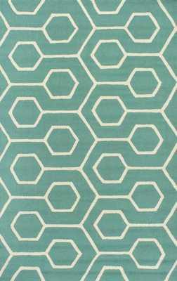 Hand Hooked Charles Indoor/ Outdoor area rug - seafoam -8x10 - Loom 23