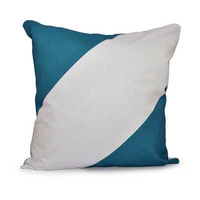 "Bold Stripe Throw Pillow - Lake Blue - 16"" H x 16"" W - Down insert - AllModern"