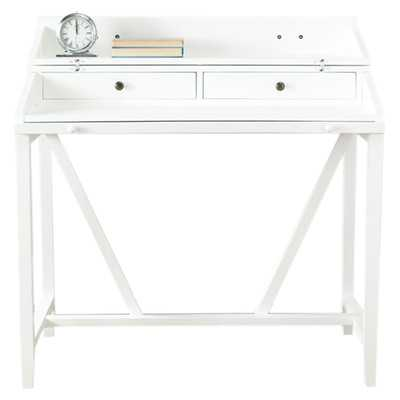 Bainsby Writing Desk with 2 Drawers, White - Wayfair