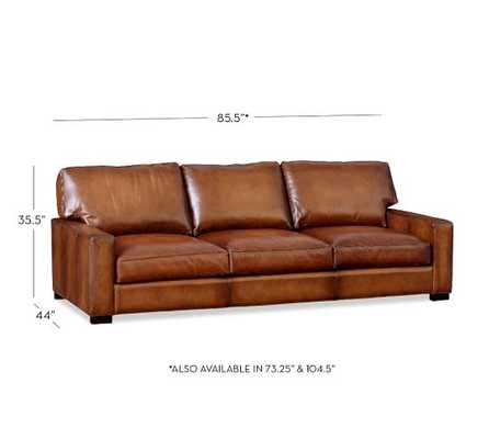 Turner Square Arm Leather Sofa - Regular, Leather, Saddle - Pottery Barn