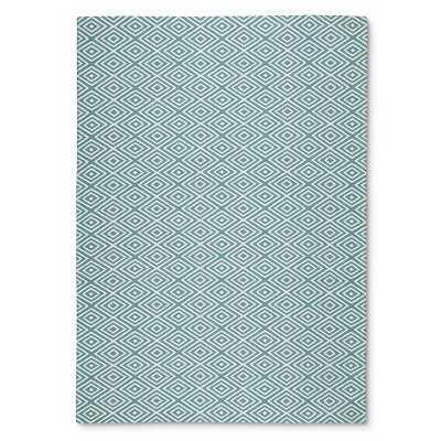 Indoor Outdoor Flatweave Diamond Rug - Turquoise; 5' x 7' - Target