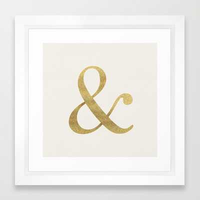 "Gold Glitter Ampersand - 22"" X 22"" - Vector White Frame - Society6"