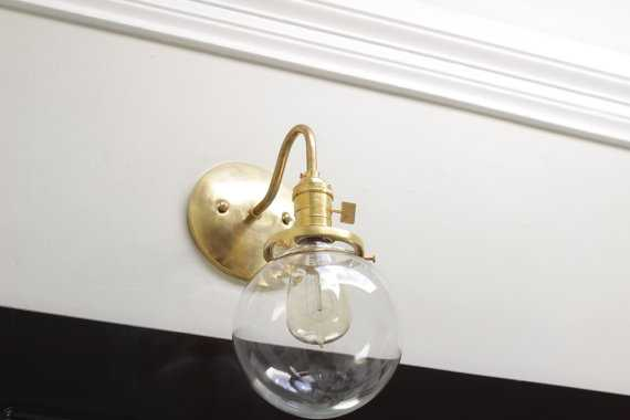 """Gold Brass Wall Sconce Clear 6"""" Globe - Etsy"""