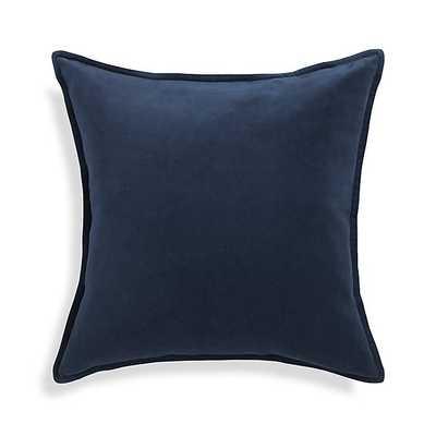 Brenner Velvet Pillow - 20x20 - Indigo - Feather Insert - Crate and Barrel