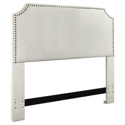Luna Nail Trim Upholstered Headboard - Full / Queen - Bone - Wayfair